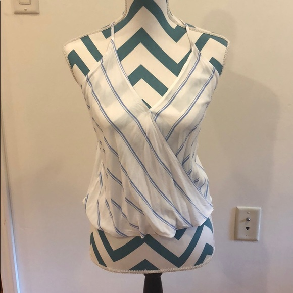 Tobi Tops - Halter top with blue pinstripes.